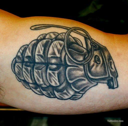 Inner Arm Military Grenade Tattoo Design