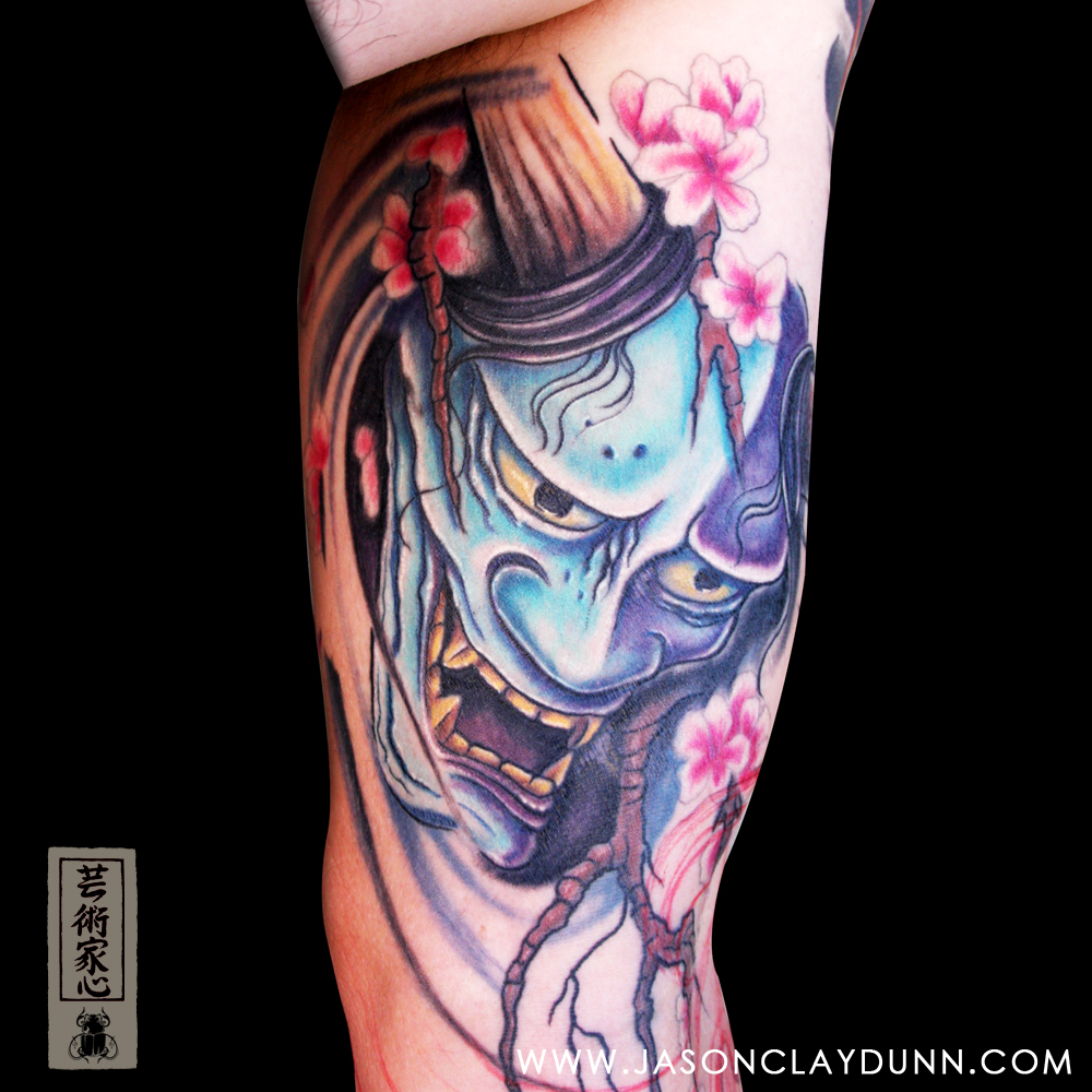 Japanese Hannya Mask And Cherry Blossoms Tattoo On Arm