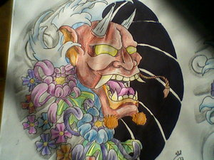 Japanese Hannya Mask Tattoo Deisgn