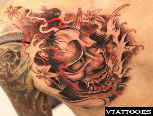 Japanese Hannya Mask Tattoo On Chest | Tattoobite.com