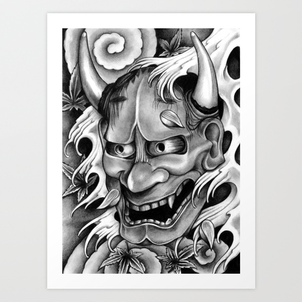 Japanese Mask And Waves Tattoo Photo