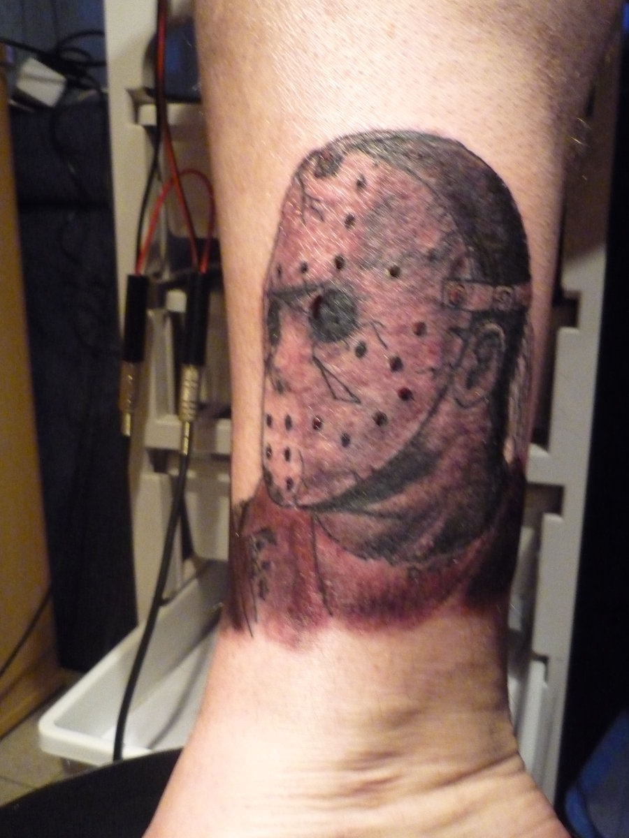 Jason Mask Tattoo On Ankle