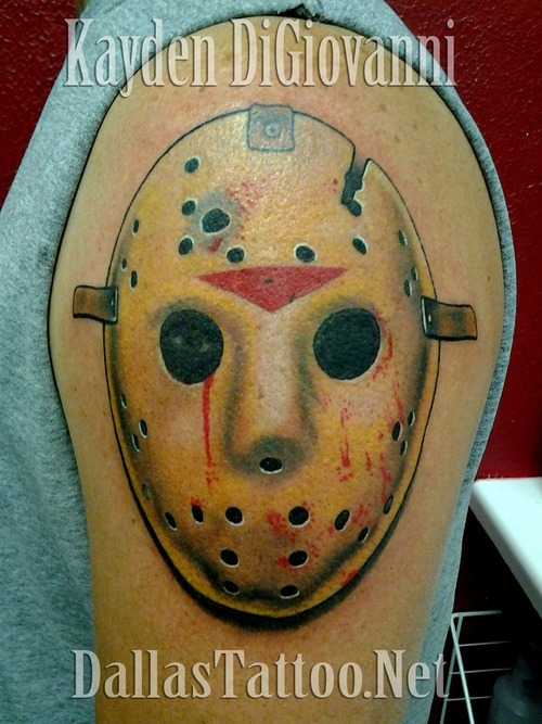 Jason Mask Tattoo On Shoulder