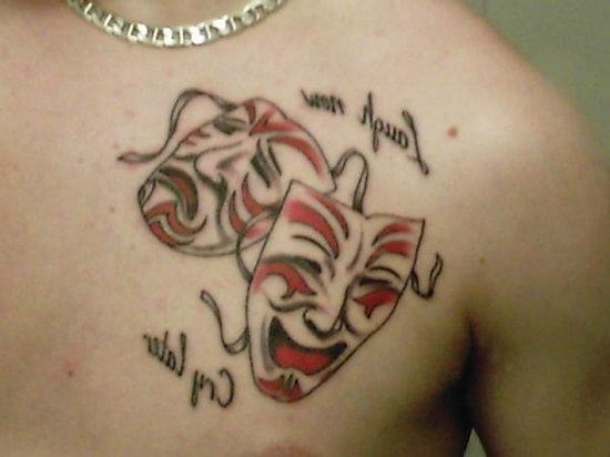 Laugh Now Cry Later Clown Masks Tattoo
