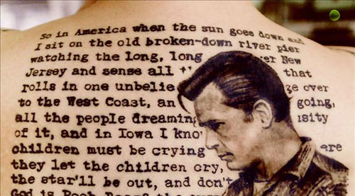Literary And Jack Kerouac Portrait  Tattoo On Back