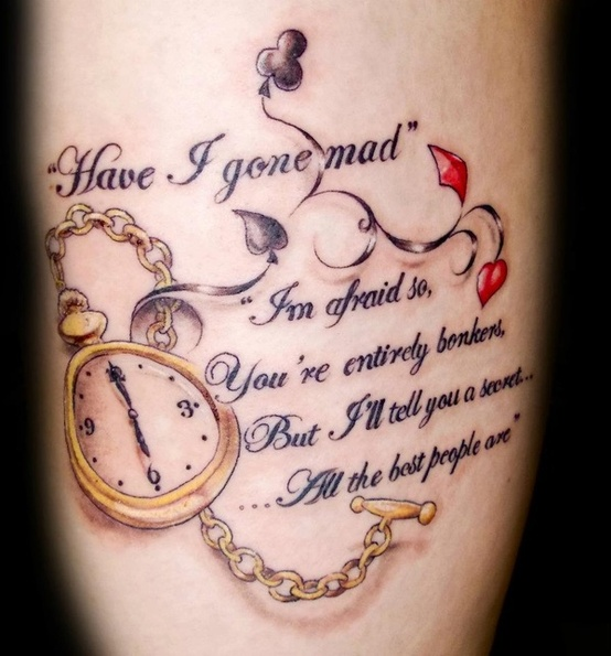 Literary And Pocket Watch Tattoo