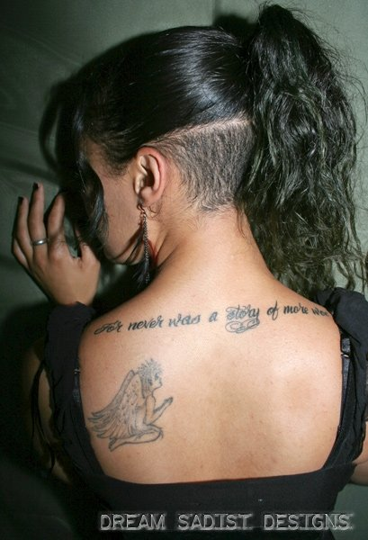 Literary And Praying Angel Tattoo On Upper Back