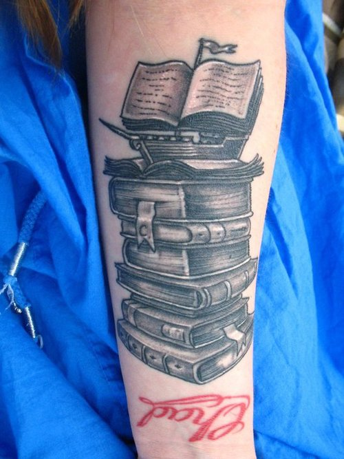 Literary Books Tattoo On Arm