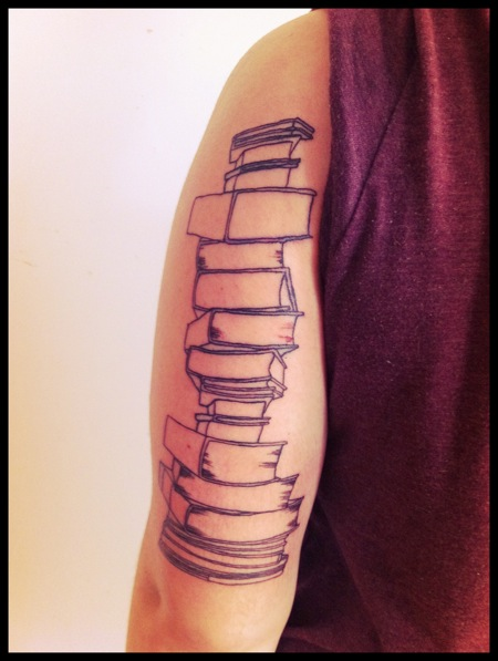 Literary Books Tattoo On Back Arm