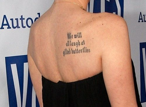 Literary Tattoo On Shoulder Blade