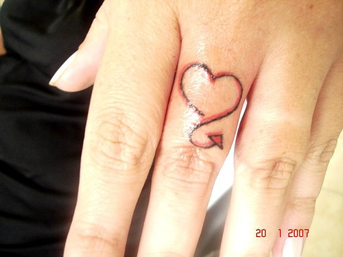 Little Love Heart Tattoo On Finger