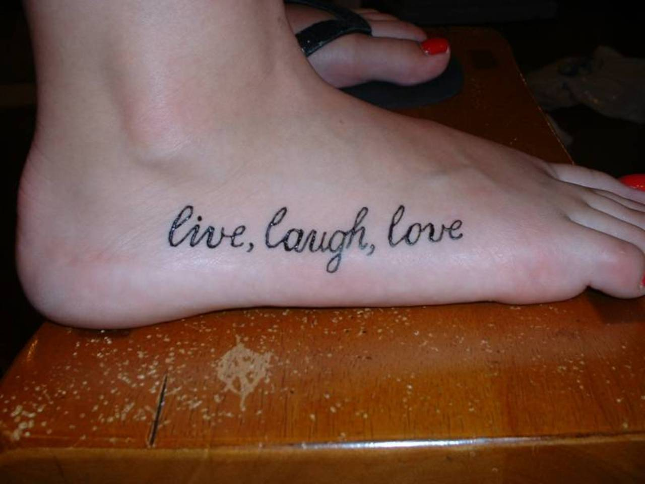 Live Laugh Love Tattoo For Foot