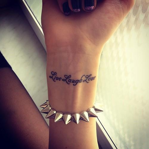 Live Laugh Love Tattoo For Wrist
