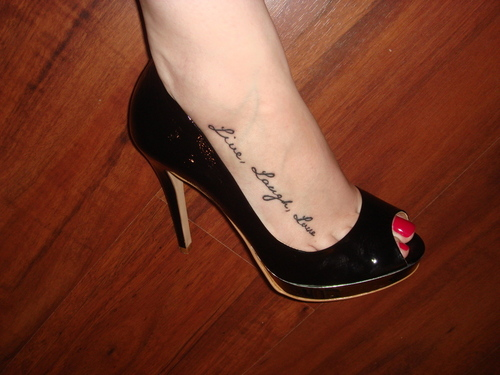 Live Laugh Love Tattoo On Foot For Girls