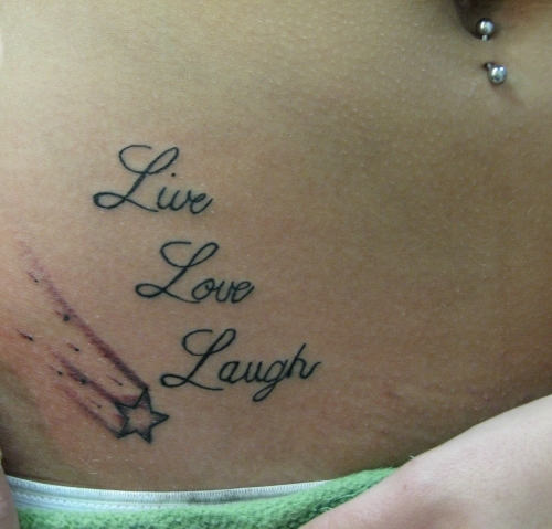 Live Laugh Love Tattoo On Hip For Girls