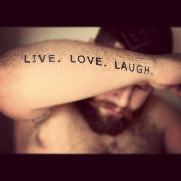 Live. Laugh. Love Text Tattoo On Arm For Guys