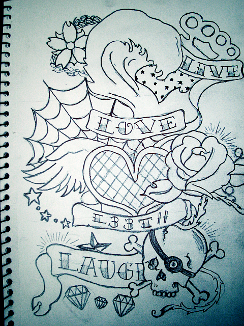 Live Love Laugh Heart Roses Tattoo Designs