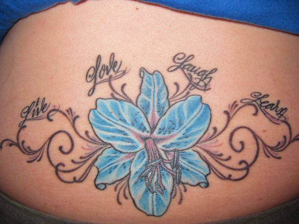 Live Love Laugh Leary And Blue Flower Tattoo Designs On Back