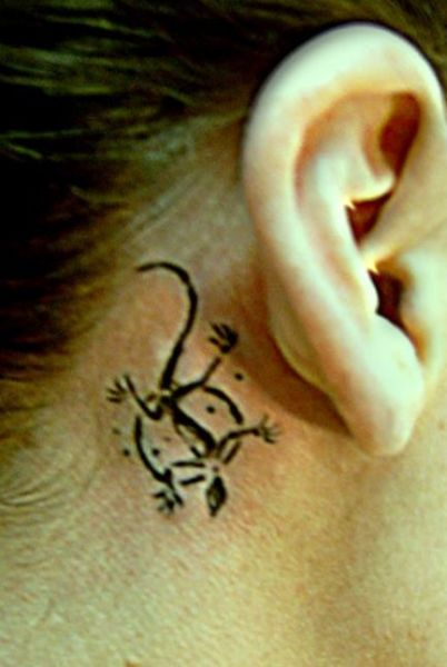 Lizard Tattoo Behind Ear For Girls