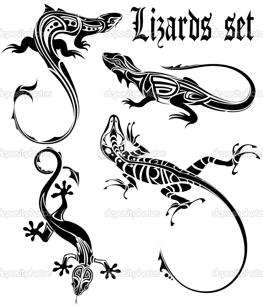 Lizards Tattoo Set