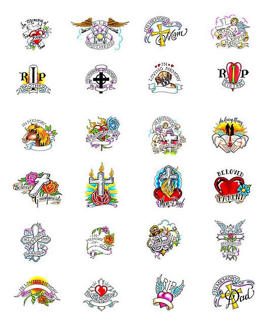 Lots Of Memorial Tattoo Designs