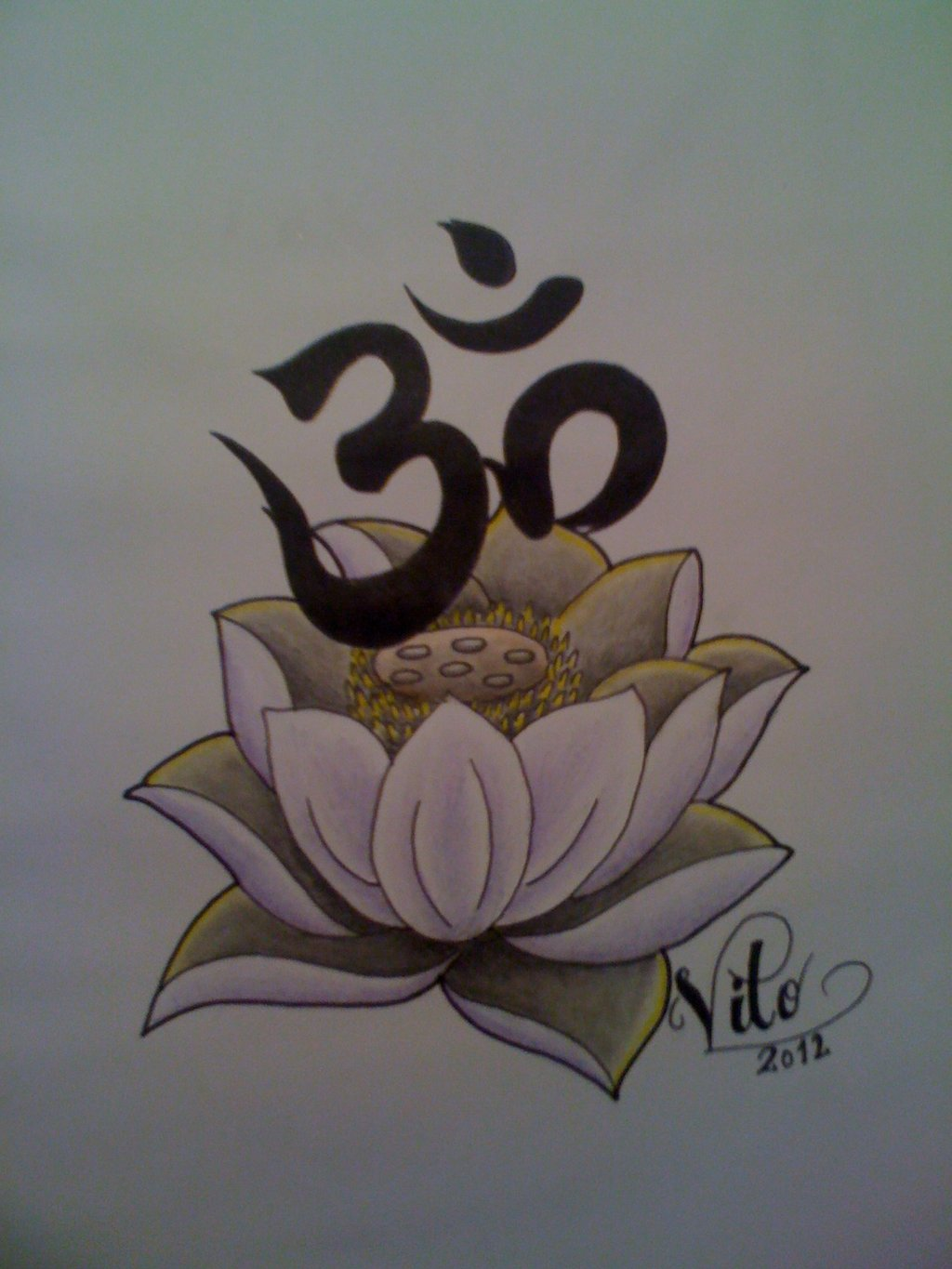 Lotus And Om Tattoo Design