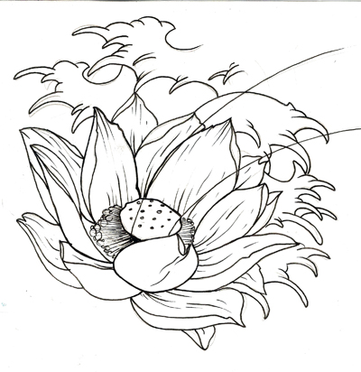 Lotus And Waves Tattoo Sample