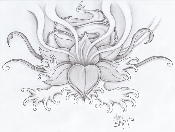 Lotus And Waves Tattoo Sketch