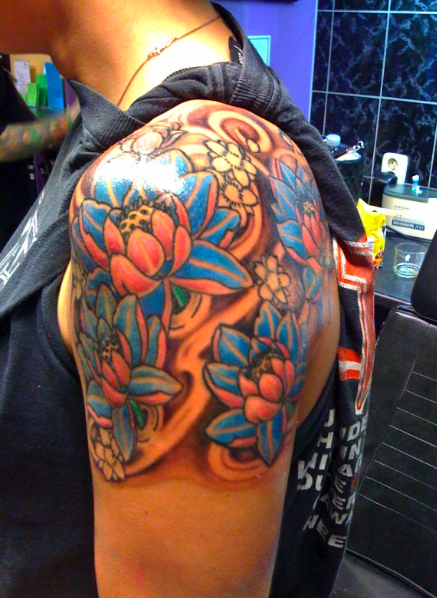 Lotus Flower Tattoo Designs On Shoulder For Men