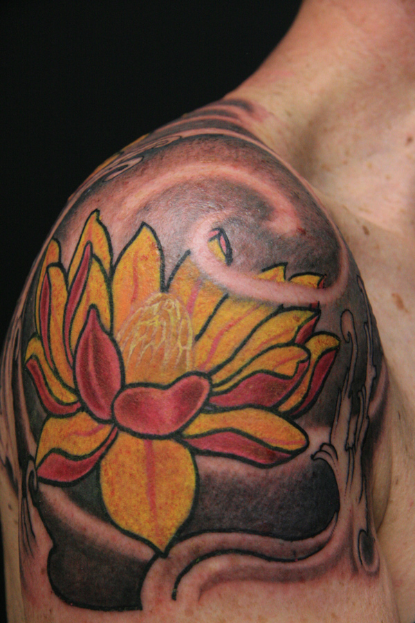 Lotus Flower Tattoo For Men On Shoulder