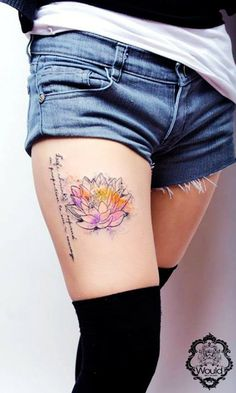 Lotus Flower Tattoo On Thigh