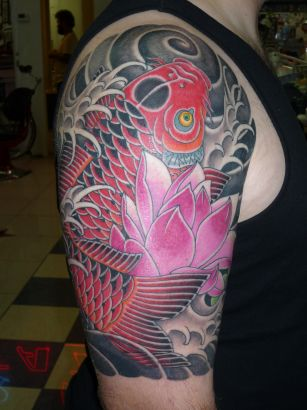 Lotus & Koi Fish Tattoo On Half Sleeve