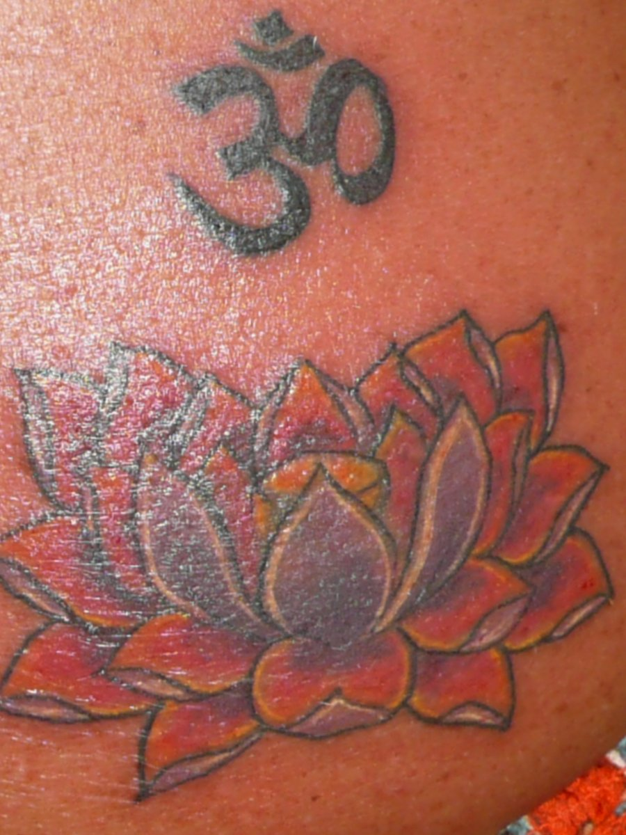 Lotus Om Tattoo Closeup