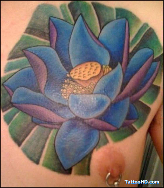 Lotus Tattoo And Nipple Piercing