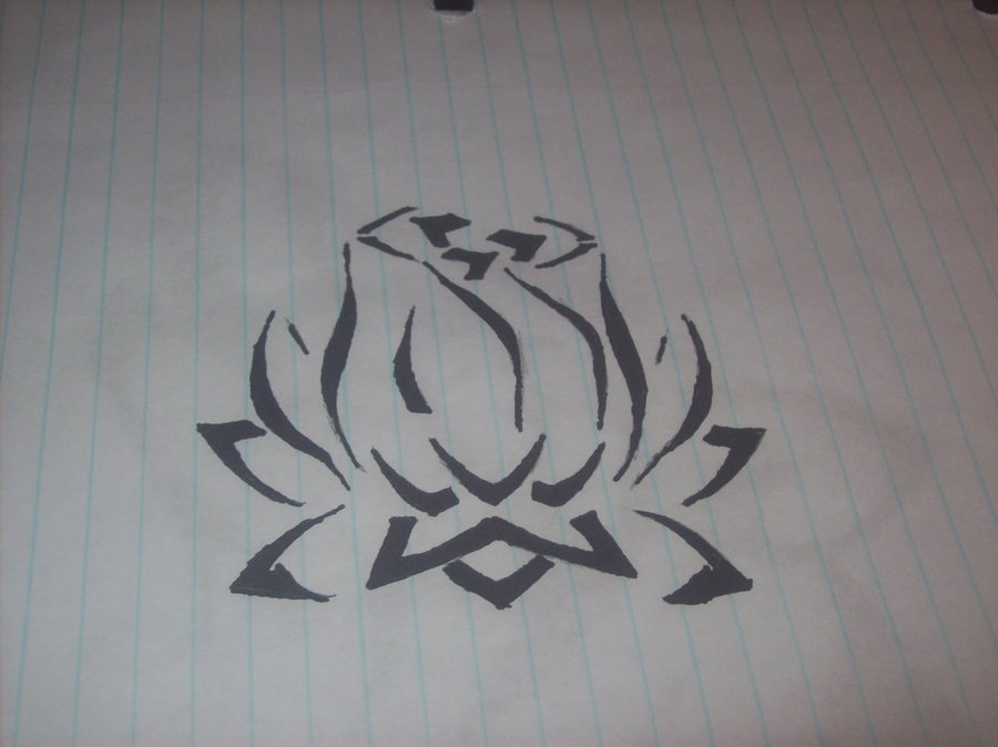 Lotus Tribal Tattoo Sketch