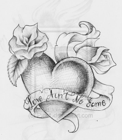 Love Ain't No Game Heart n Rose Tattoo Sketch