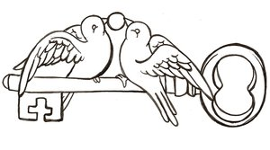 Love Birds On Key Tattoo Design