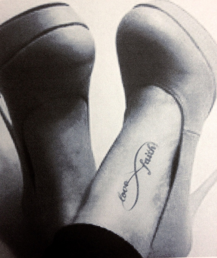 Love Faith Infinity Symbol Tattoo On Foot