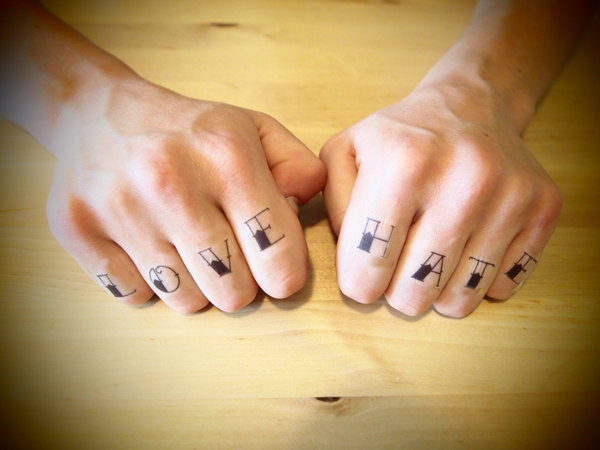 Love Hate Tattoo Design On Knuckle