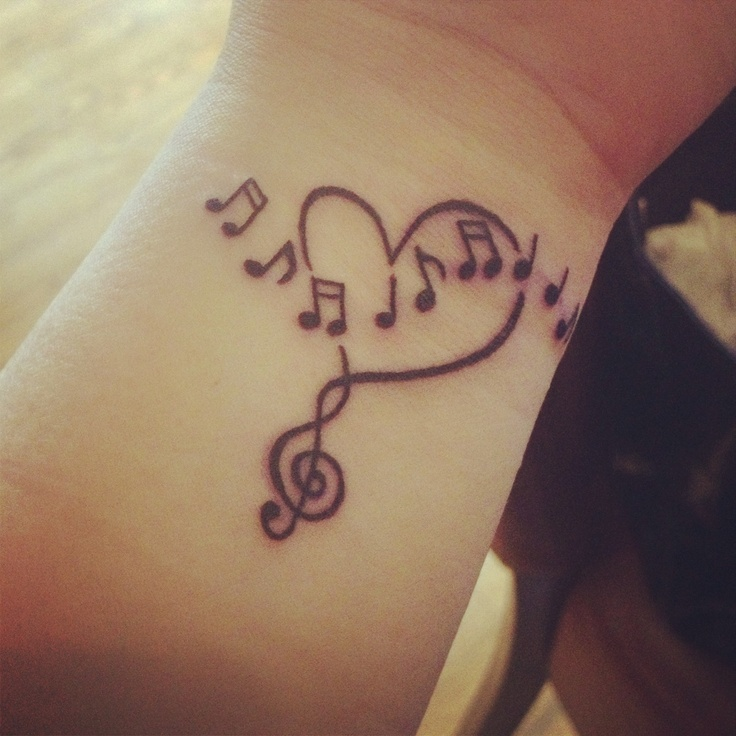 Love Heart And Music Notes Tattoo On Wrist