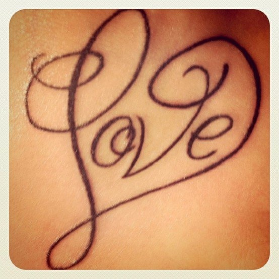 Love Heart Letter Tattoo Design