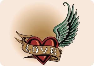 Love Heart Wing Tattoo Poster