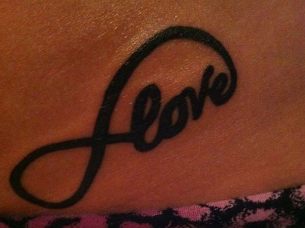 Love Infinity Tattoo Design On Hip