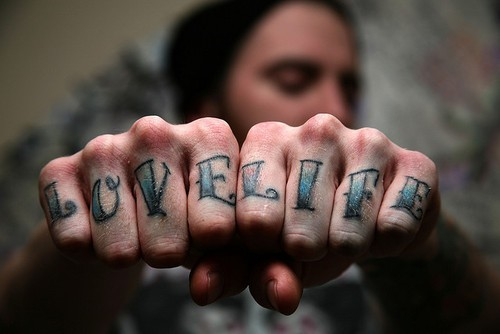 Love Life Knuckles Tattoo Design