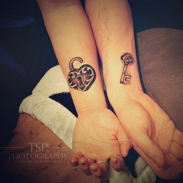 Love Lock And Key Tattoo Designs For Couples