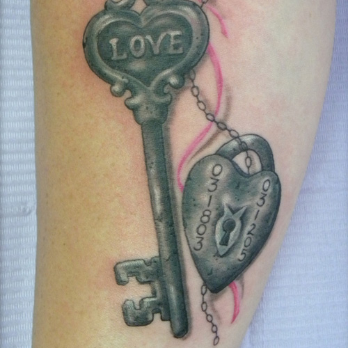 Love Lock Key Tattoo Design