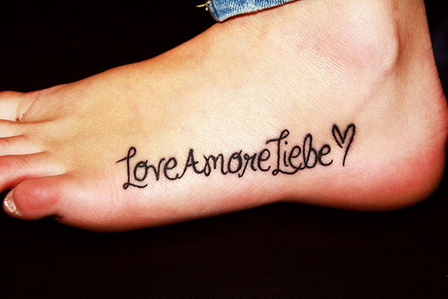Love Quote Tattoo For Foot