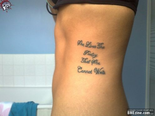 Love Quote Tattoo On Side Rib
