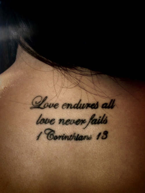 Love Wording Tattoo On Upper Back
