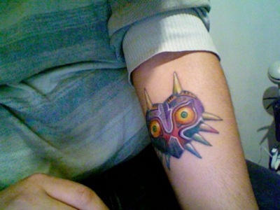 Lovely Majora's Mask Tattoo On Arm